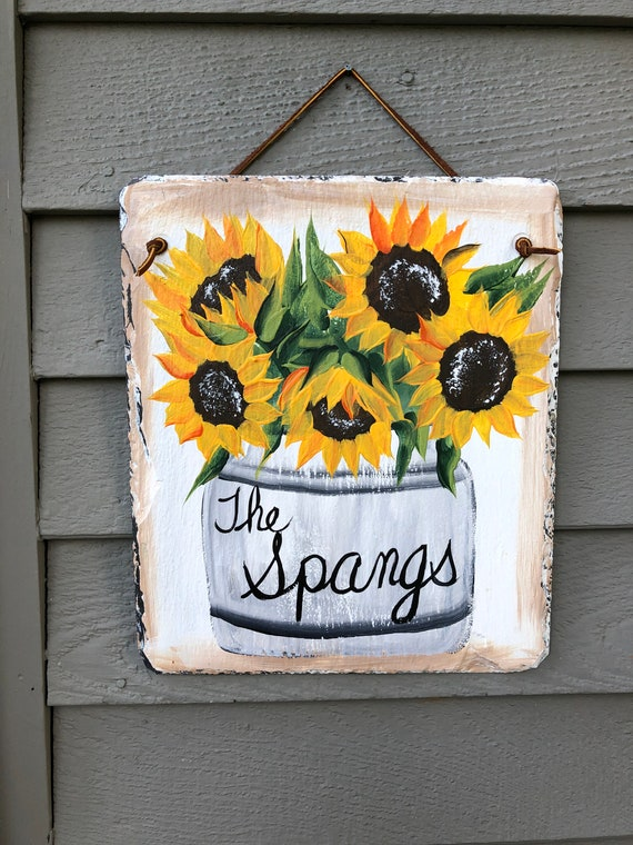 Fall Sign, slate sign, slate welcome sign, Sunflowers slate sign, painted slate, welcome sign, Fall welcome plaque, Fall door hanger