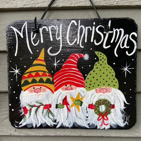 Painted Christmas slate tile, Christmas plaque, door hanger, Christmas door hanger, Merry Christmas sign, , Painted slate, slate sign