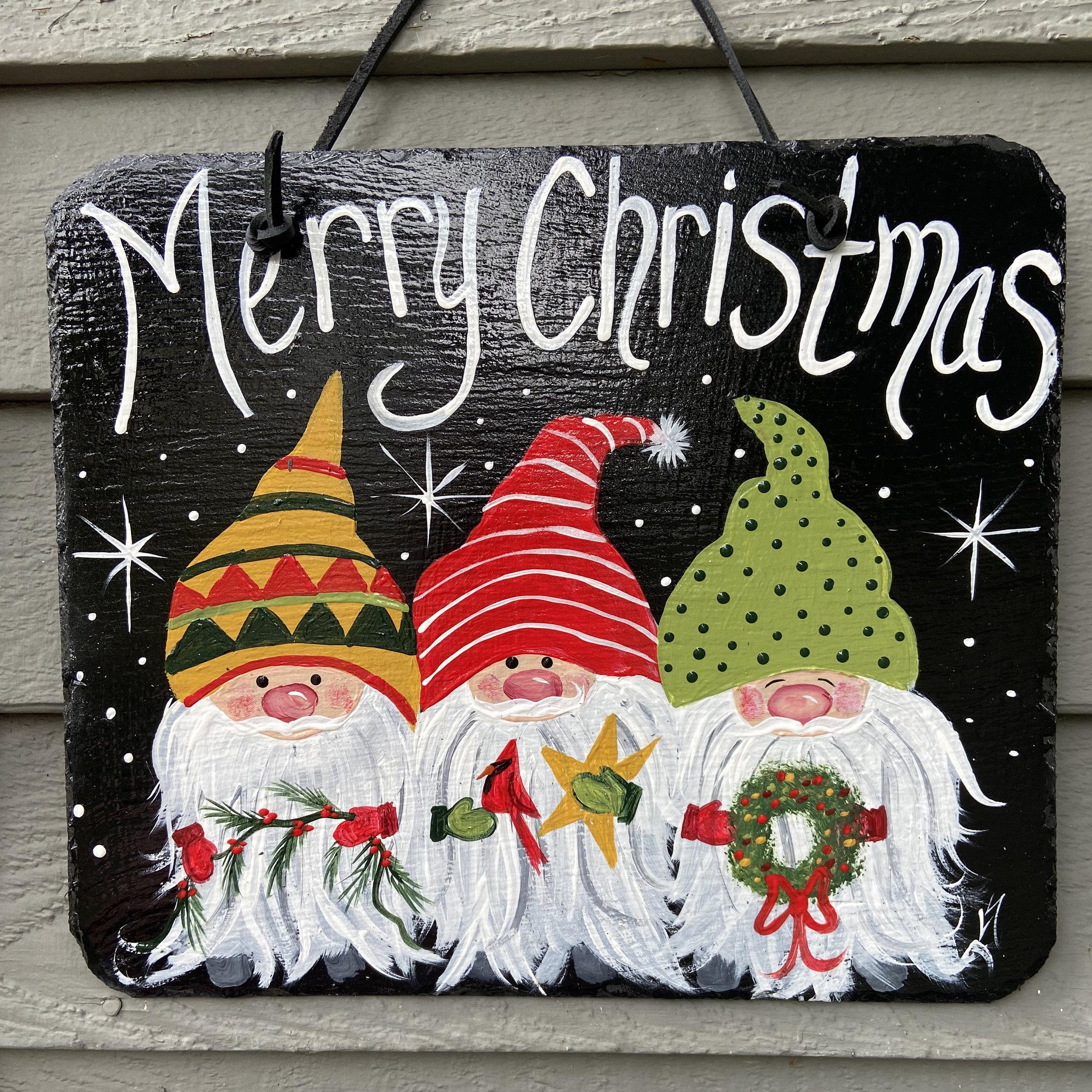 Door Hanger Decorative Tole Pattern New 2020 Christmas Painted Christmas slate tile, Christmas plaque, door hanger