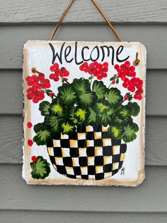 Black & White check Hand Painted Slate sign, Spring Welcome sign, Front door Slate, Spring Slate Sign, door hanger, Slate welcome plaque