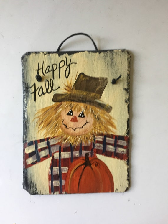 Fall door decor, fall door hanger, Scarecrow welcome sign, Fall decorations, Autumn welcome sign, pumpkin painting, Thanksgiving decor
