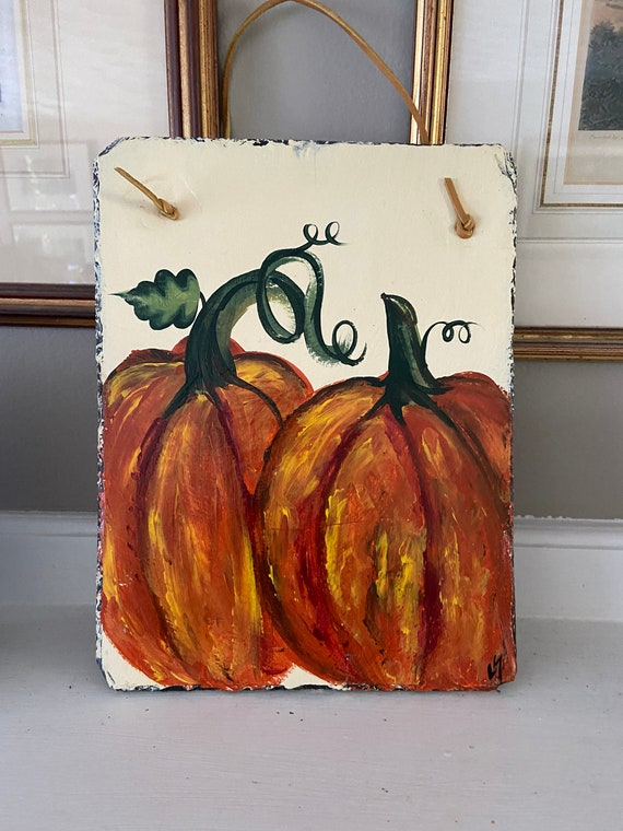 Pumpkin welcome sign, Thanksgiving decor, Pumpkin slate tile, Fall door hanger, painted slate, painting on slate, porch decor