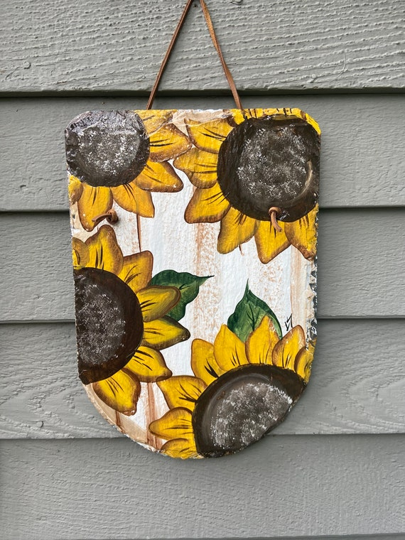 Sunflower slate plaque, Sunflower sign, Porch decor, Deck decor, Hand Painted slate, Garden decor, Garden sign, Painted slate plaque