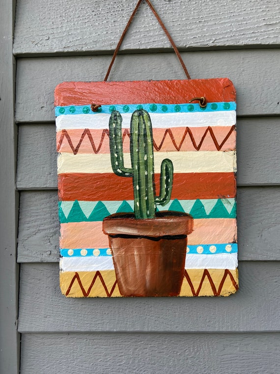 Aztec slate tile, Southwestern Tile, Painted slate, Hand painted slate, Aztec tile, Aztec decor, Southwestern wall hanging, Aztec plaque