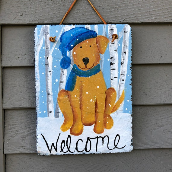 slate sign, Winter door hanger, welcome sign, Gift for Dog Lover, Hand Painted Slate Welcome sign, Outside door decor, Winter slate sign