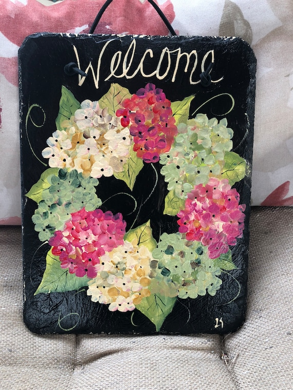Spring Front door Wreath painted slate, Hydrangeas wreath slate door hanger, Painted Slate, Hydrangea welcome sign, porch decor, door hanger