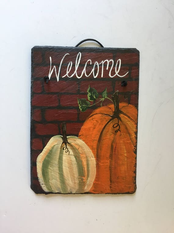 Fall door hanger, Pumpkin door hanger, Fall door decoration, Slate Door hanger, Fall decorations, Autumn welcome sign, Thanksgiving decor
