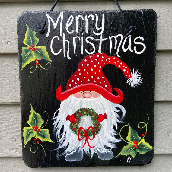 Painted slate, Christmas Slate plaque, Christmas sign, Porch Decor, Slate welcome sign, slate sign, Christmas door hanger, Painting on slate