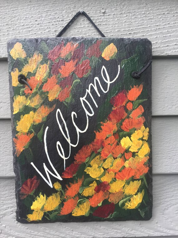 Fall slate sign, Fall welcome sign, slate sign, Fall door hanger, Autumn door decor, personalized sign, painted Slate, Welcome plaque