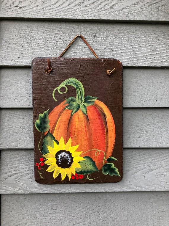 Hand Painted Fall slate Decoration, Yard Art, Garden hanger, Sunflower door hanger, sunflower decor, Garden decor, welcome sign, Fall decor