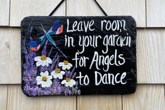 Painted slate garden sign, Dragonfly garden sign, garden signs, angels in heaven, painted slate, garden decor, bereavement gift, slate sign