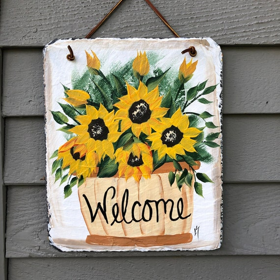 Hand Painted Slate sign, Sunflower Slate Welcome Sign, Slate plaque, Welcome sign, Painted slate, Painting on slate, door hanger,