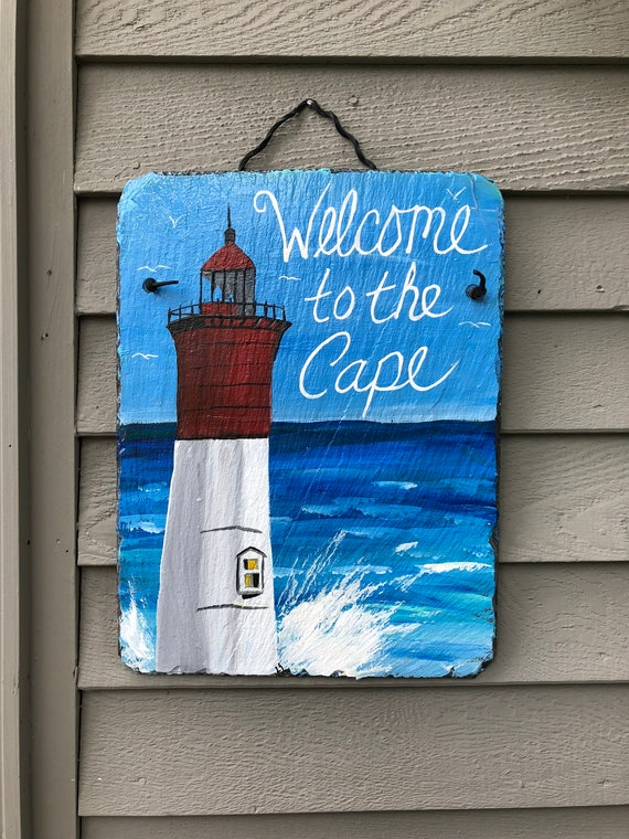 Lighthouse welcome sign, Painted slate,Coastal Door Hanger, Seaside, Beach house decor, Coastal decor, Cottage decor, Outside porch decor