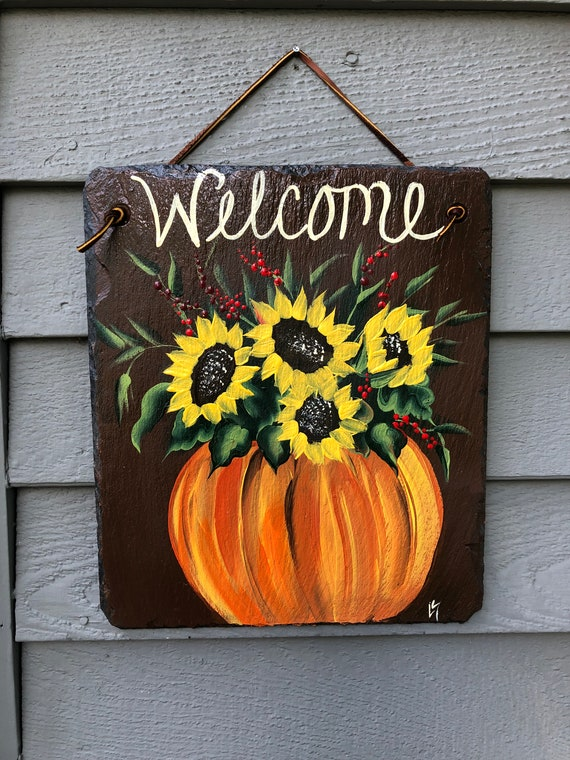 Painted slate sign, Fall decor, Sunflower Slate sign, slate welcome sign, painted slate, welcome sign, Fall welcome plaque, Fall door hanger