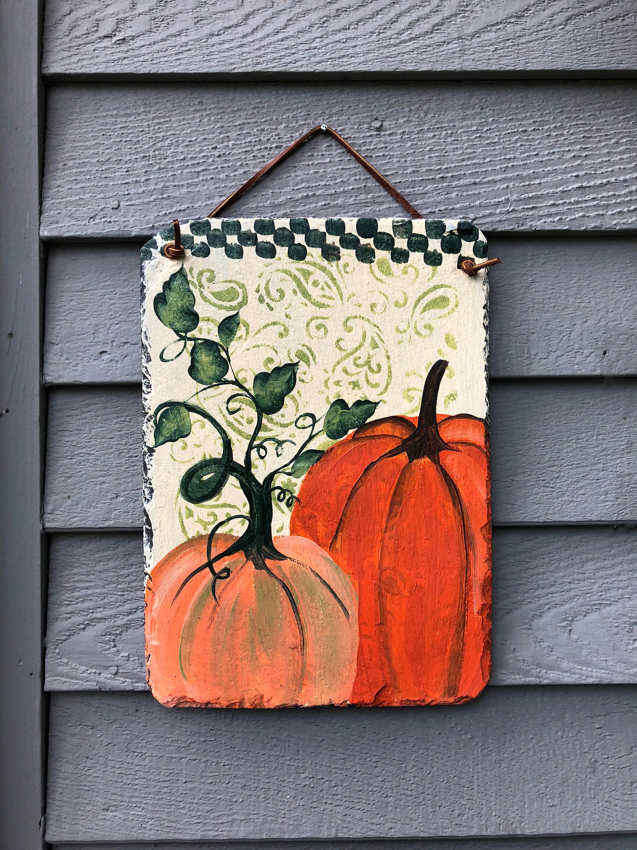Outdoor Pumpkin Decorations, Front Door Fall Decor, Painted Slate Door  Hanger, Fall Decorations, Autumn Decor, Thanksgiving Decor