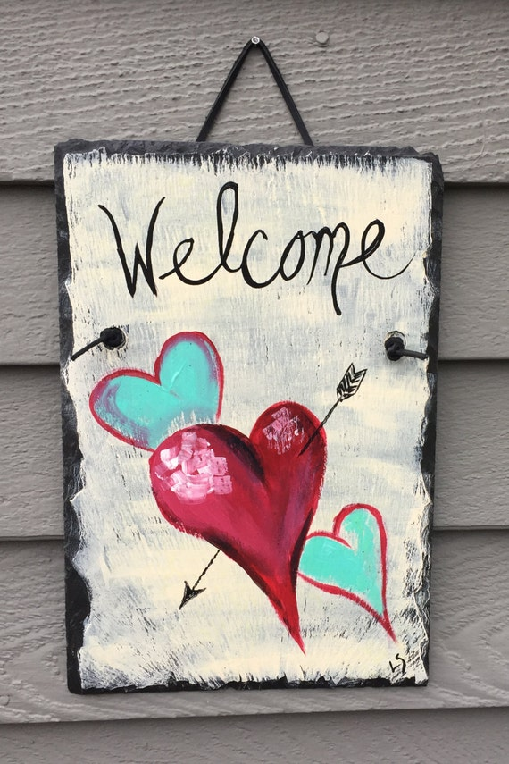 Painted slate, Valentine's Day door hanger, Valentine heart, Valentine day decor, Valentine decoration, Valentines day Slate Welcome sign