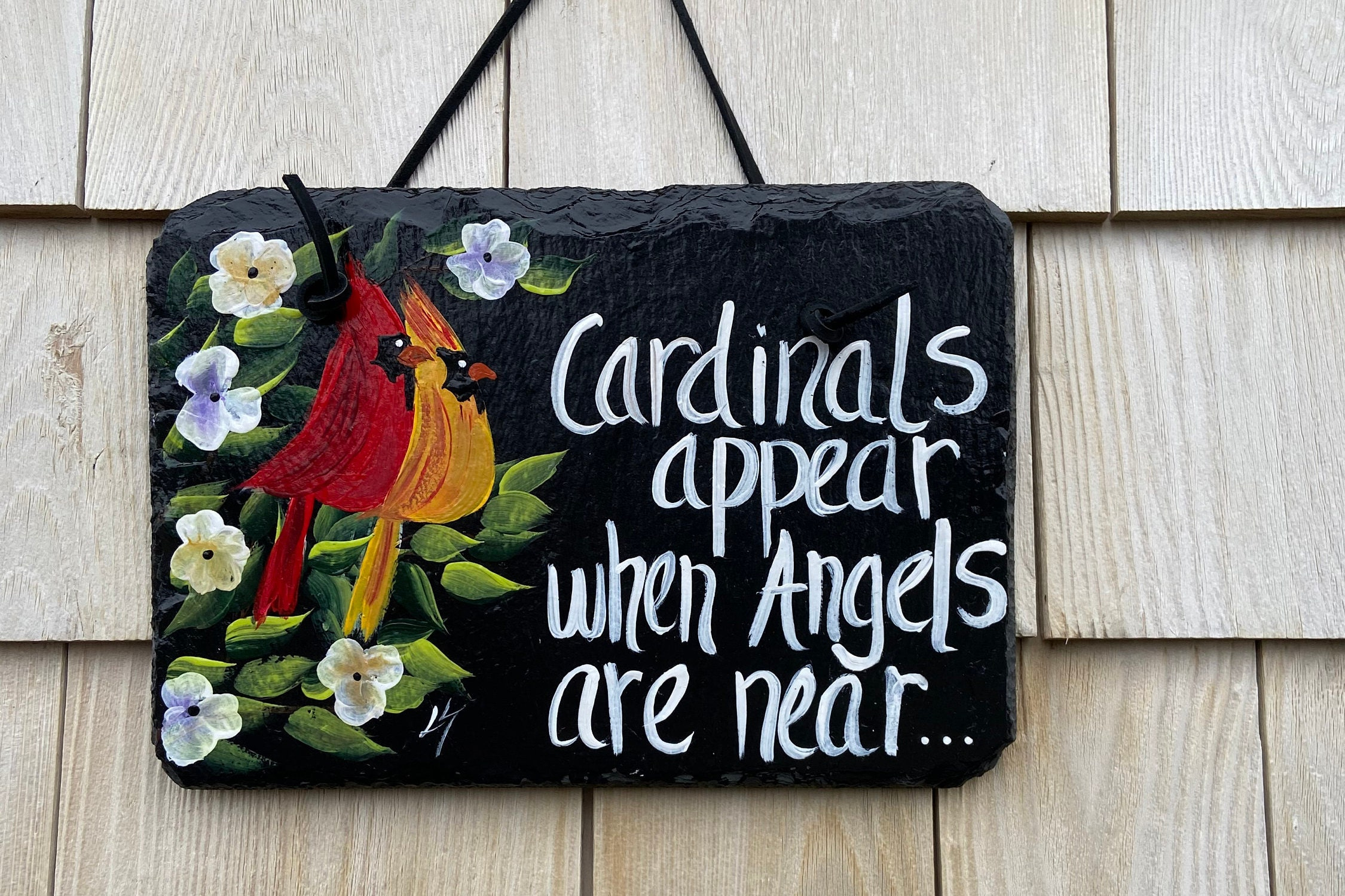 Painted garden sign, Cardinals appear when Angels are near ...