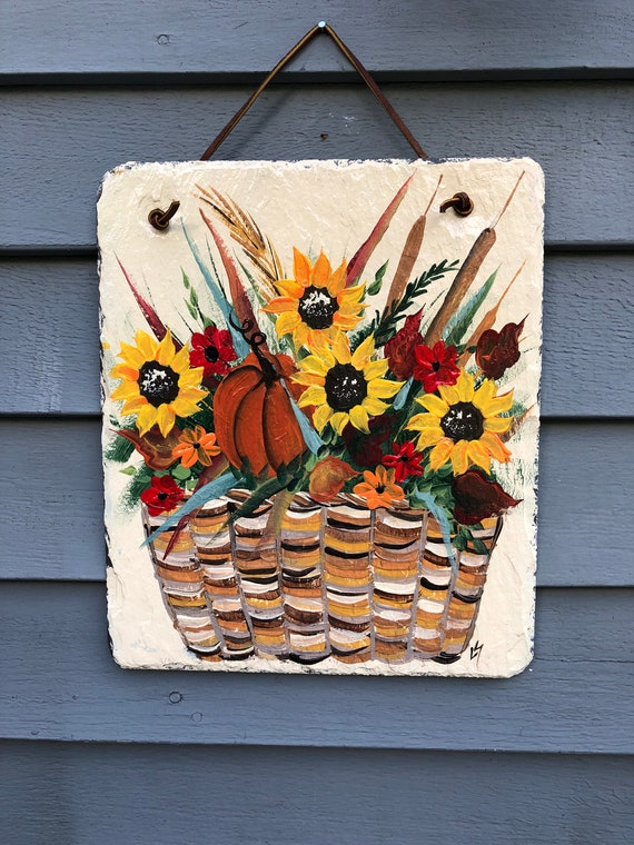 Fall sign, Fall decor, Slate welcome plaque, slate sign, painted slate, Sunflowers, Fall welcome plaque, Fall door hanger, Autumn sign,