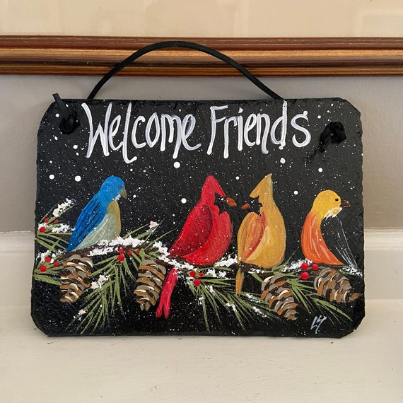 Painted winter Cardinals welcome sign, Porch decor, painted slate sign, Winter sign, Bird door hanger, Cardinal slate sign, Painted birds