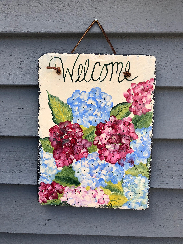 Hydrangeas Slate Welcome Sign, Door Decor, Summer Decor, Cottage Decor,  Hydrangeas, Spring Door Hanger, Front Door Decoration, Door Sign