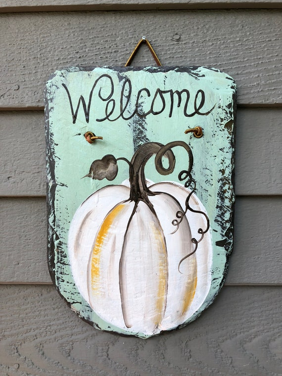 Slate Welcome Sign, Painted slate, Fall slate plaque, Door decor, pumpkin Door hanger, painting on slate, Pumpkin slate sign, fall sign