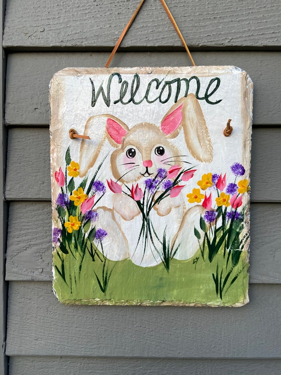 Easter welcome sign, Easter Door hanger, Easter sign, Painted slate welcome sign, slate sign, easter decor, Spring slate sign, spring sign