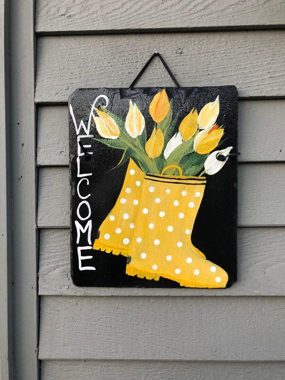 Hand Painted Slate welcome sign, Spring door hangers, Tulips welcome sign, Easter door decor, Welcome plaque, Outdoor spring decorations,