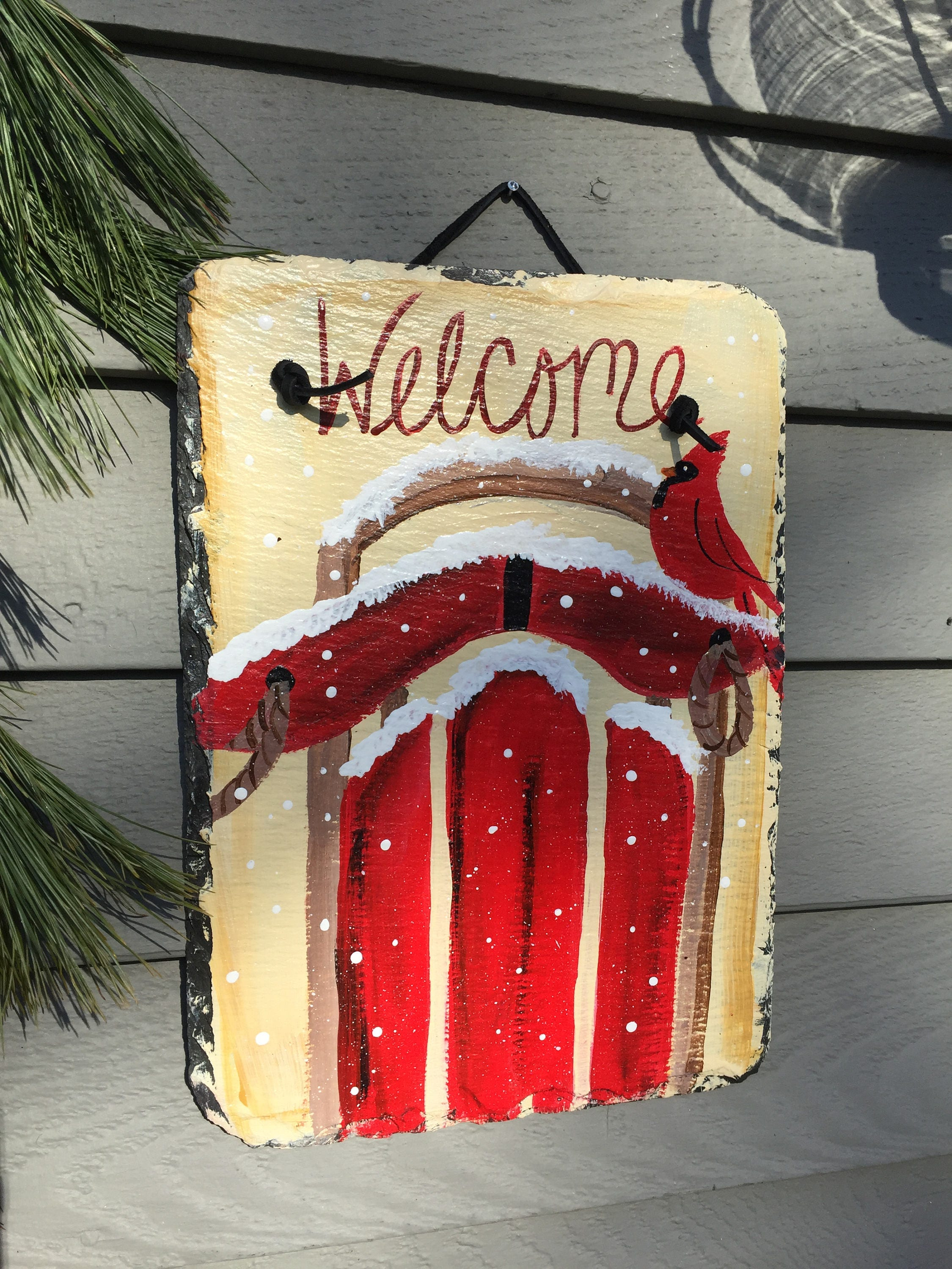 red cardinal on sled welcome sign painted slate christmas sign christmas decorations holiday front door hanger decor christmas tree art