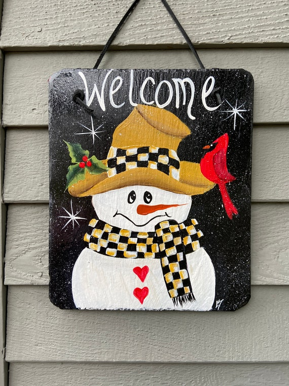 Snowman slate sign, Painted slate tile, welcome plaque, door hanger, Winter sign, welcome sign, Painted slate, slate sign, porch decor