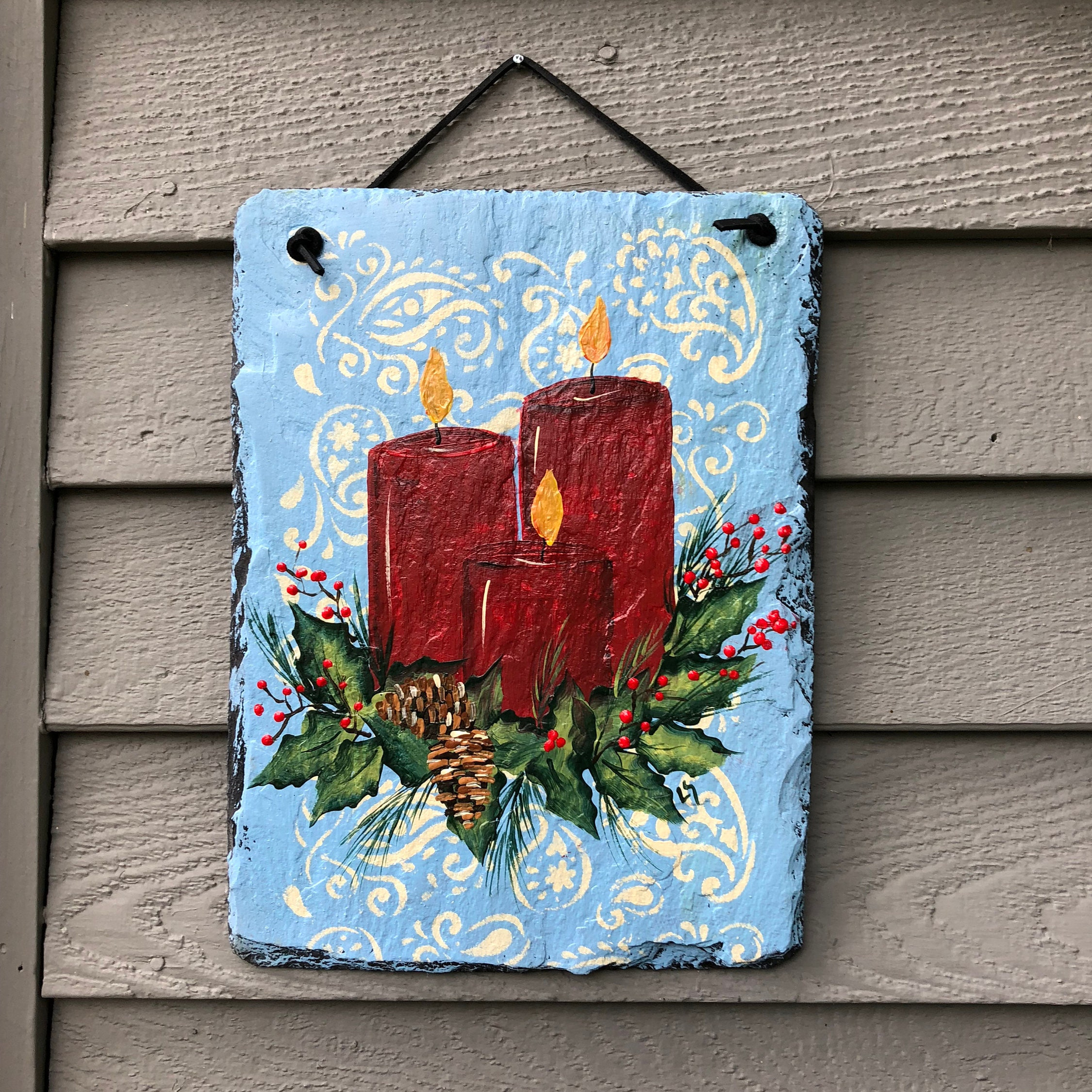 outside christmas decorations christmas door hanger red candles