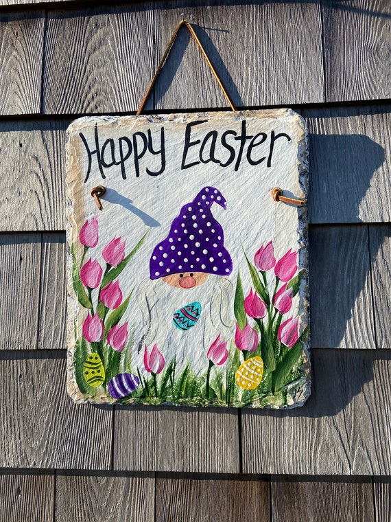 Easter welcome sign, Easter Door hanger, Easter Gnome sign, Painted slate sign, slate sign, easter decor, Spring slate sign, spring sign
