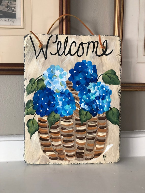 Painted slate, Summer door decor, Painted Slate welcome sign, Summer Welcome Sign, welcome plaque, door hanger, Slate sign, door decor