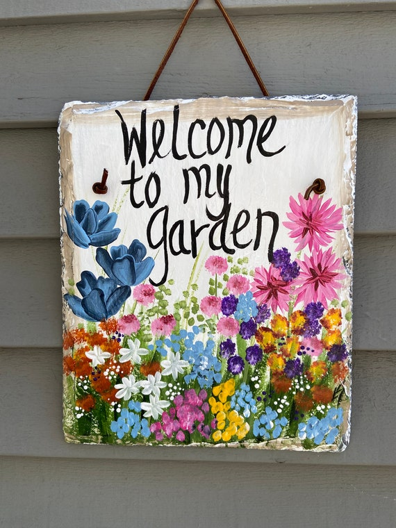 Painted Garden Slate sign, Spring Welcome sign, Garden sign, Spring Slate Sign, spring door hanger, porch decor, garden decor. welcome sign
