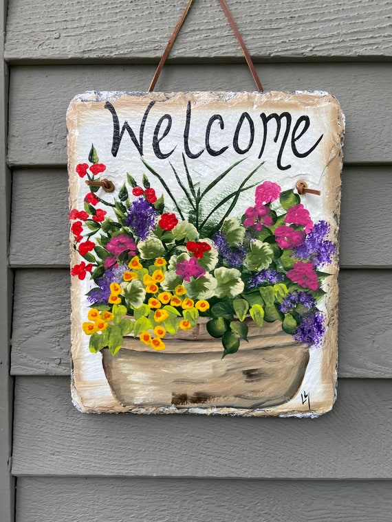 Summer slate plaque, Slate sign, Welcome sign, Garden decoration, outdoor decor, deck decor, Door hanging, Door decor, painted slate sign