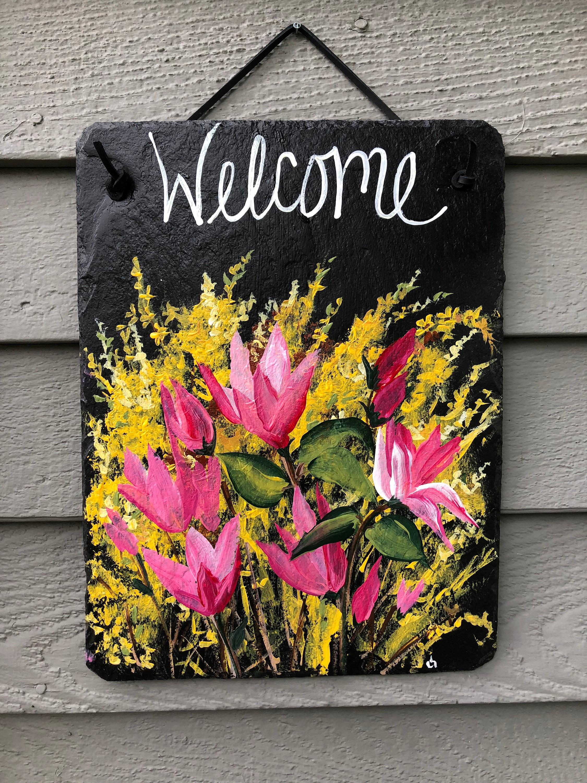 Spring Decor Spring Welcome Sign Spring Door Hanger Front Door