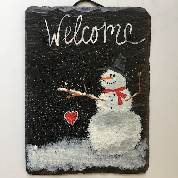 Snowman welcome sign, Personalized painted slate Welcome Sign, Winter decorations,  Valentines Day door hanger decor, Winter door decor