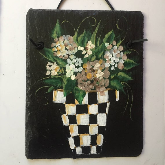 Spring flowers painted slate door hanger, Black and white check potted flowers, Spring decor, Slate welcome sign, Porch decor, slate