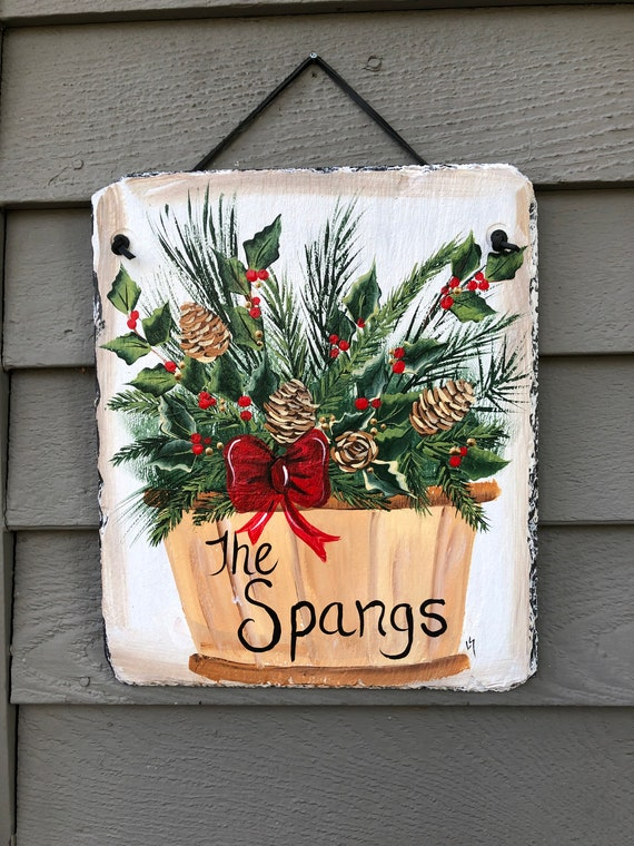 Hand Painted Slate sign, Winter Welcome sign, Front door Slate, Winter Slate Sign, door hanger, Christmas slate, Slate welcome plaque