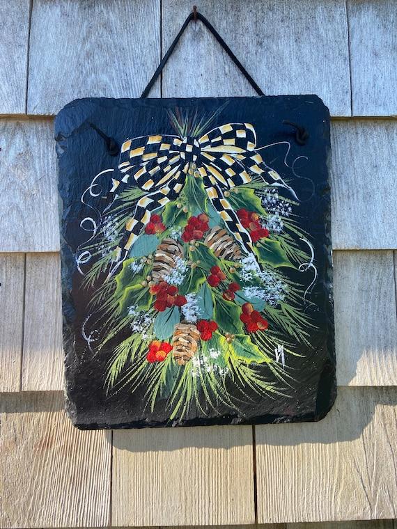 Painted Winter swag Slate, Winter Welcome sign, Painted winter sign, Slate sign, Christmas slate, Slate welcome plaque, winter door hanger