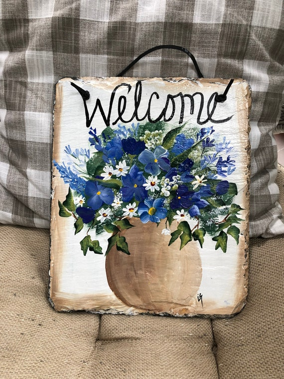 Spring Slate Sign, Summer slate sign, Slate Garden sign, door decor, Spring decor, Floral welcome plaque, door hanger, Slate welcome sign