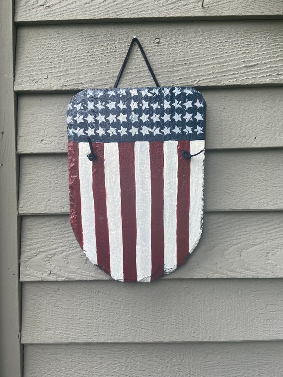 American Flag Slate plaque, Patriotic sign, July 4th door hanger, American Flag, Slate flag, Painted slate, July 4th decor, Paint slate,