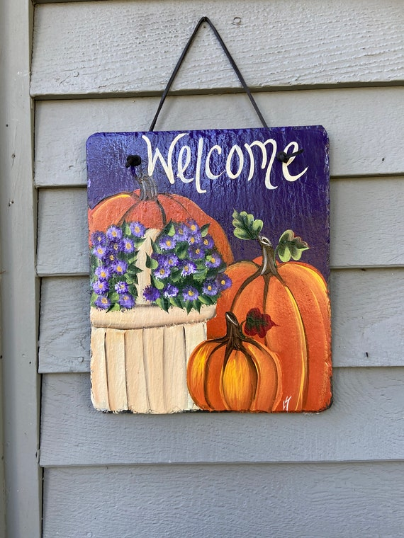 Hand Painted Slate Tile, Pumpkin slate plaque, Fall welcome plaque, Fall Slate Sign, door hanger, Fall slate, welcome plaque, Fall sign