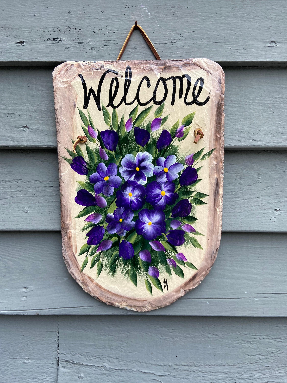 Slate welcome sign Purple hydrangeas Welcome sign Painted Slate welcome sign welcome plaque Spring welcome sign Spring door hanger