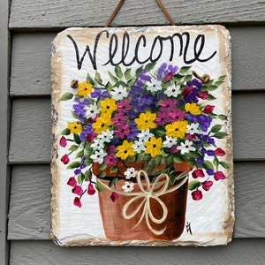 Painted plaque Welcome sign Spring Door Wreath 12 x 10 recycled roof slate door decor Welcome Sign Flower Wreath Slate door hanging
