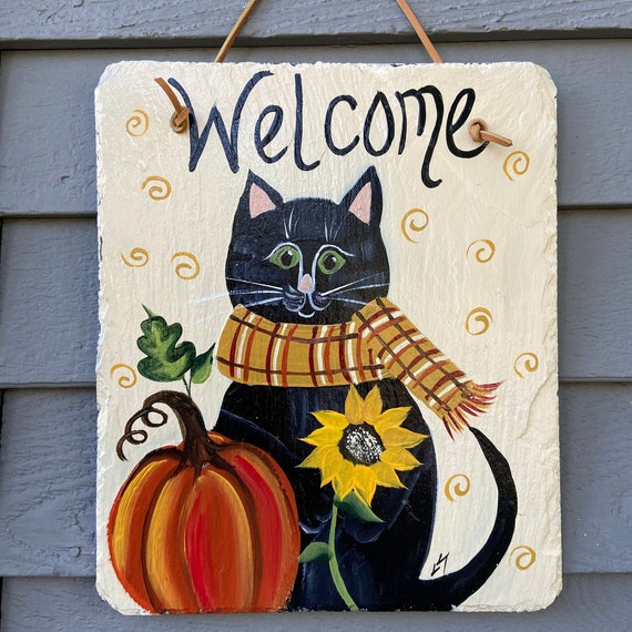 Fall slate sign, Painted slate tile, welcome plaque, Fall cat door hanger, Autumn sign, Painted slate, slate sign, porch decor, slate tile