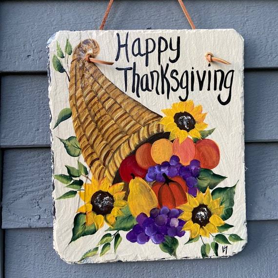 Thanksgiving slate tile, Painted slate, Slate sign, Slate tile, Happy Thanksgiving Sign, Thanksgiving decor, painting on slate, slate plaque