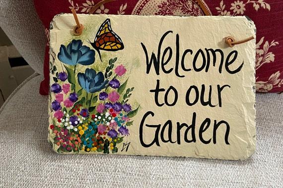 Painted garden sign, Slate sign for garden, Welcome to our Garden sign, garden signs, painted slate, garden decor, slate sign, gift for mom