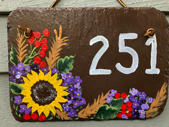 Painted slate address tile, slate sign, Door hanger, House Number sign, fall door decor, House sign, Address plaque, decorative tile, slate