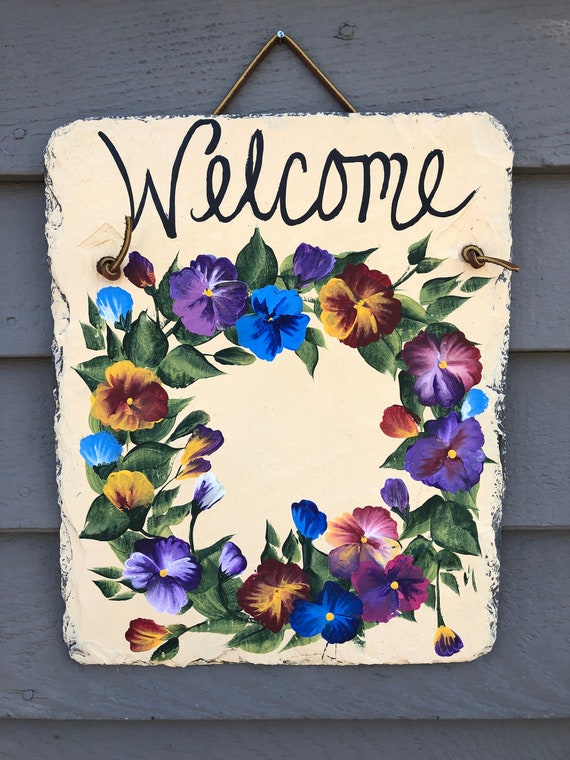 Spring door decor, Painted Slate welcome sign, Easter Decor, Pansies Welcome Sign, welcome plaque, door hanger, Mother's Day gift, welcome