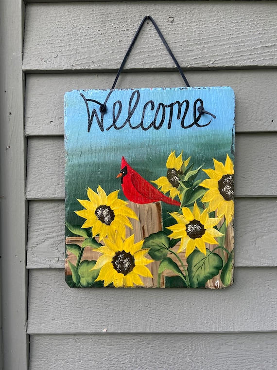 Cardinal and sunflowers slate sign, Painted slate plaque, Spring slate sign, slate sign, spring door hanger, slate welcome sign, porch decor